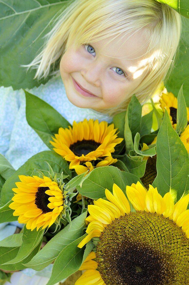 Blondes Mädchen mit Sonnenblumen