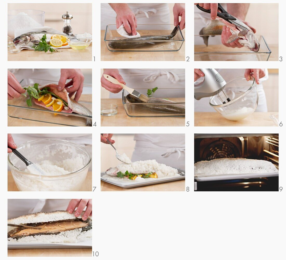 Steps for making salmon trout in salt crust