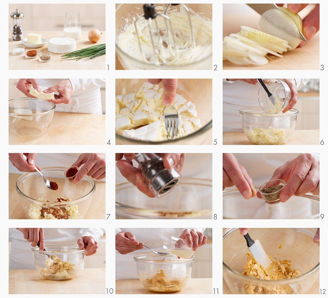 Preparing Obatzda (cheese)