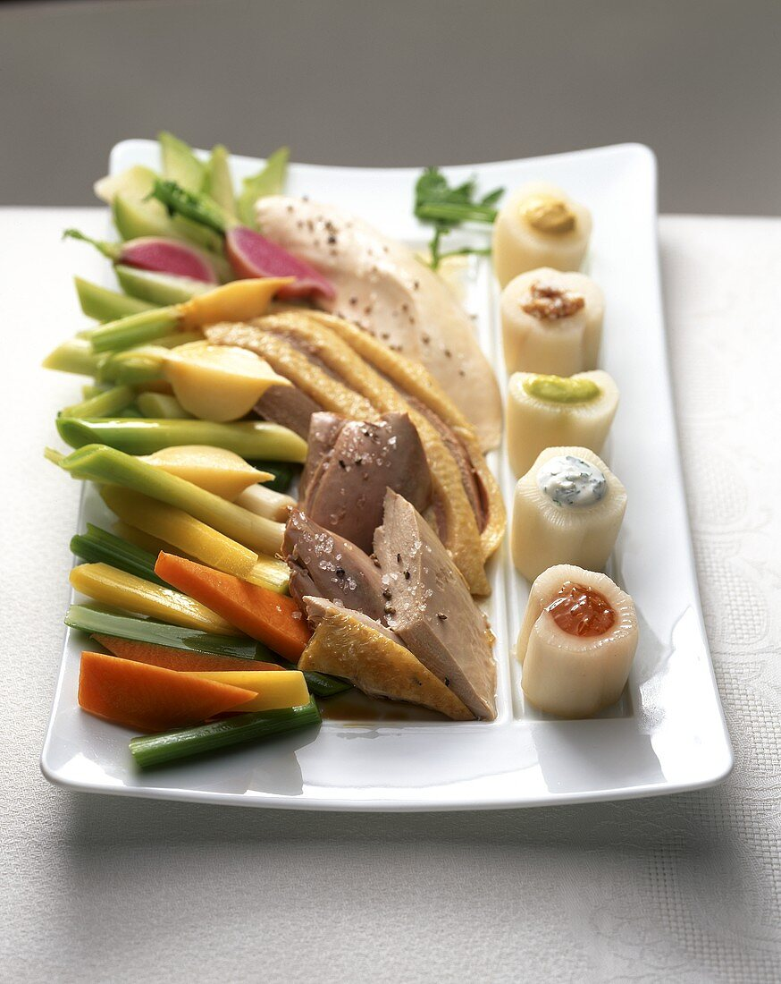 Pot au feu with poultry and stuffed turnips