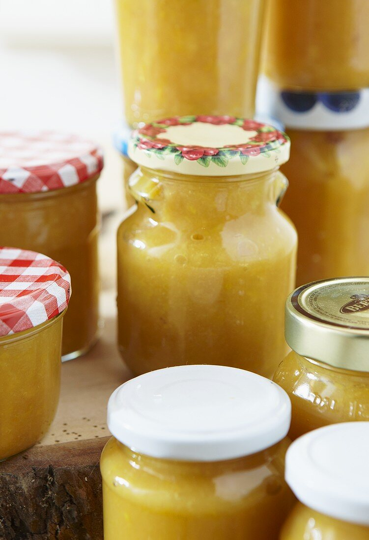 Several jars of quince jam
