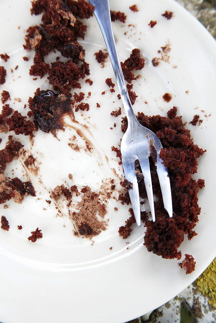 Chocolate cake crumbs on a plate with a fork