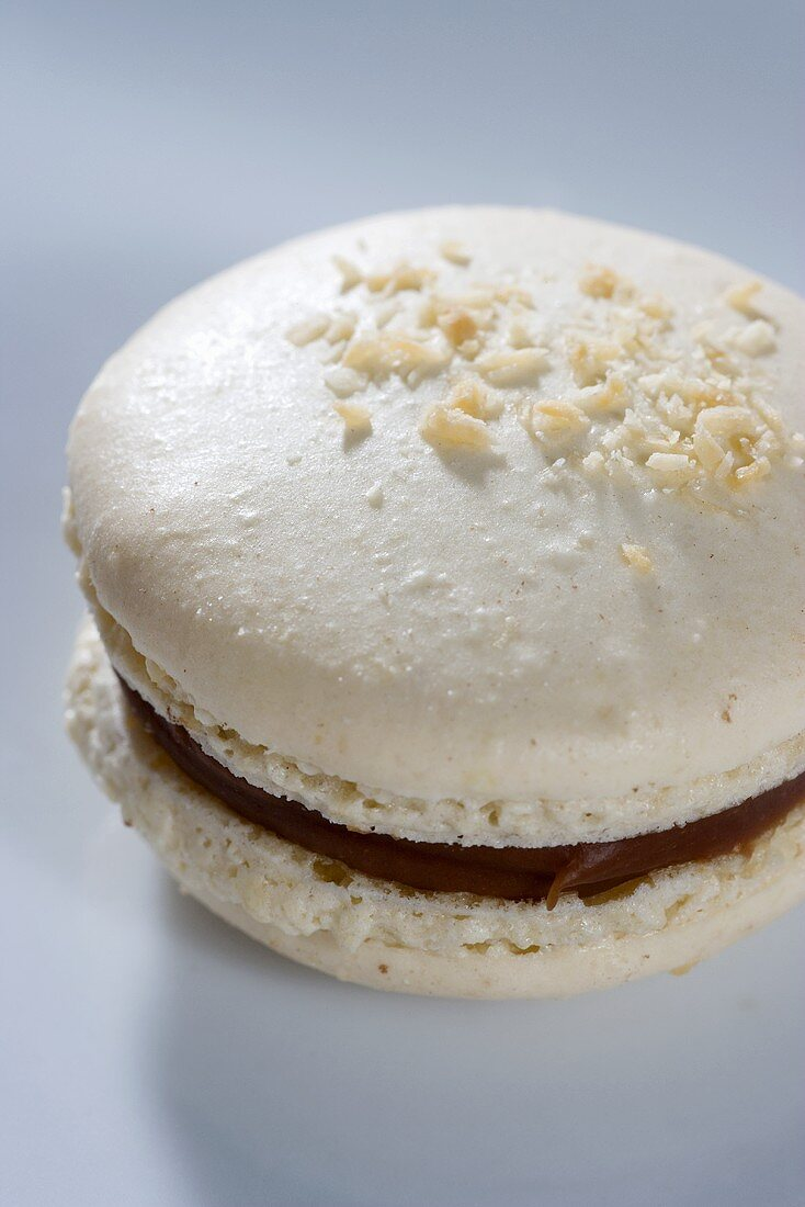 A white chocolate macaroon with coconut