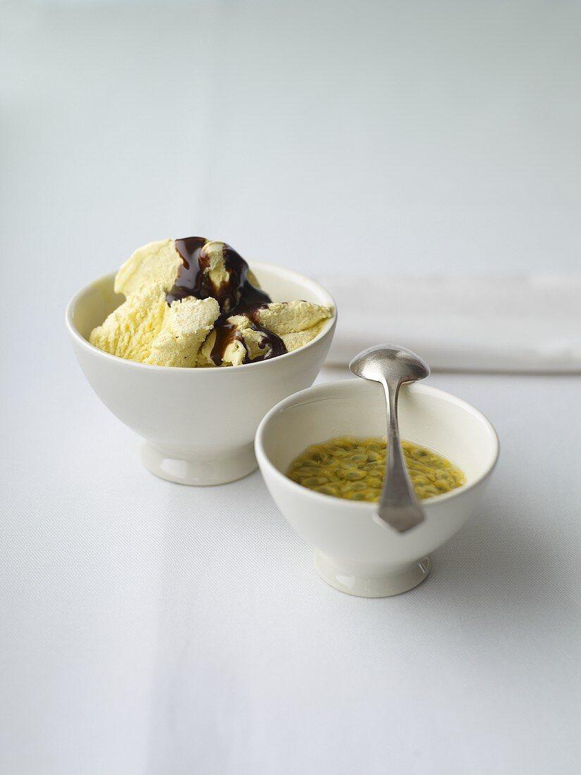 Vanilla ice cream with two sauces