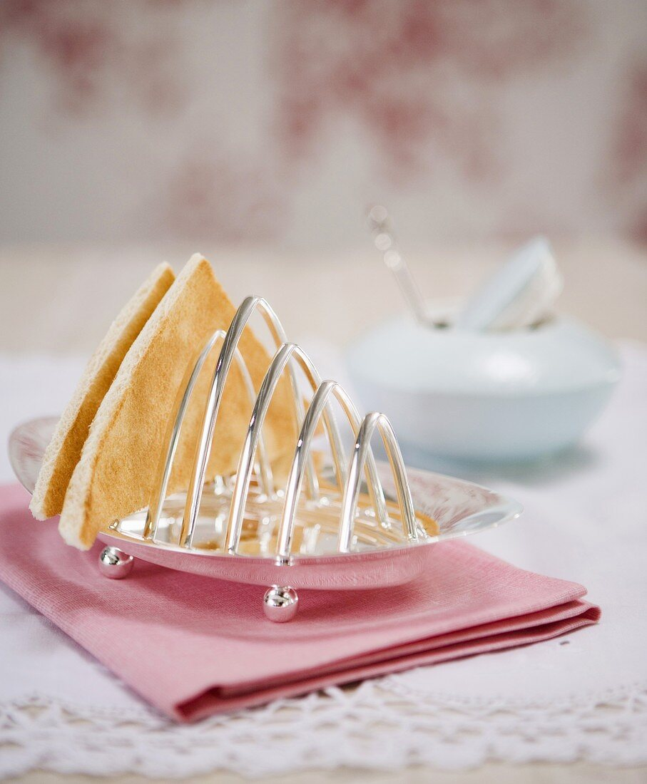Toast in an antique toast rack