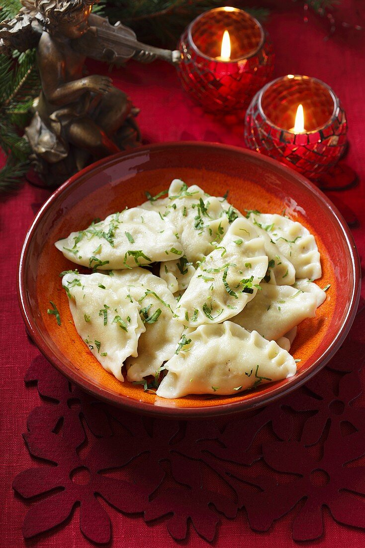 Fish filled dough parcels for Christmas (Poland)
