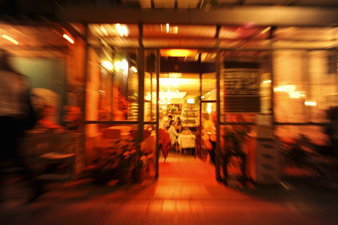 A cafe bar at night time