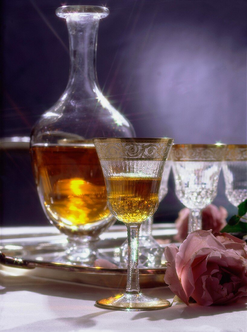 A Glass of Sherry and a Decanter