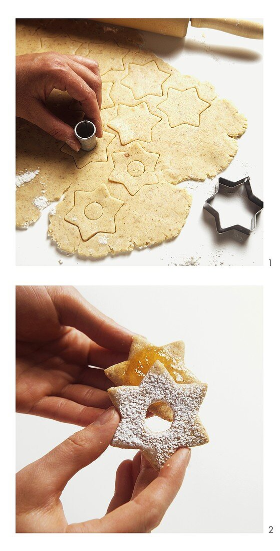 Making star-shaped jam biscuits