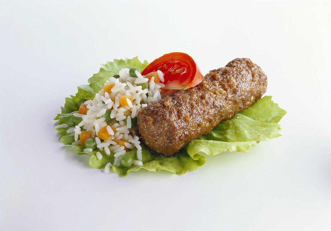 Cevapcici with Vegetable Rice