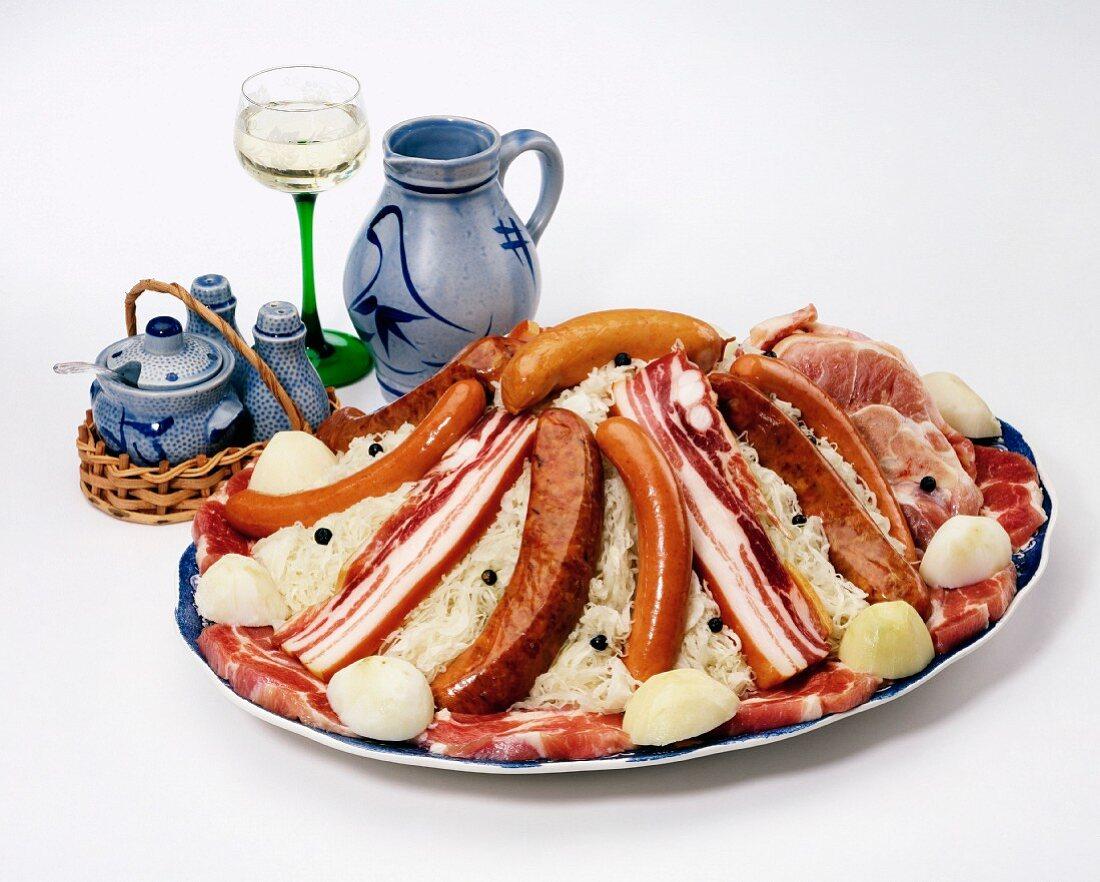 Alsatian dish with sauerkraut, France