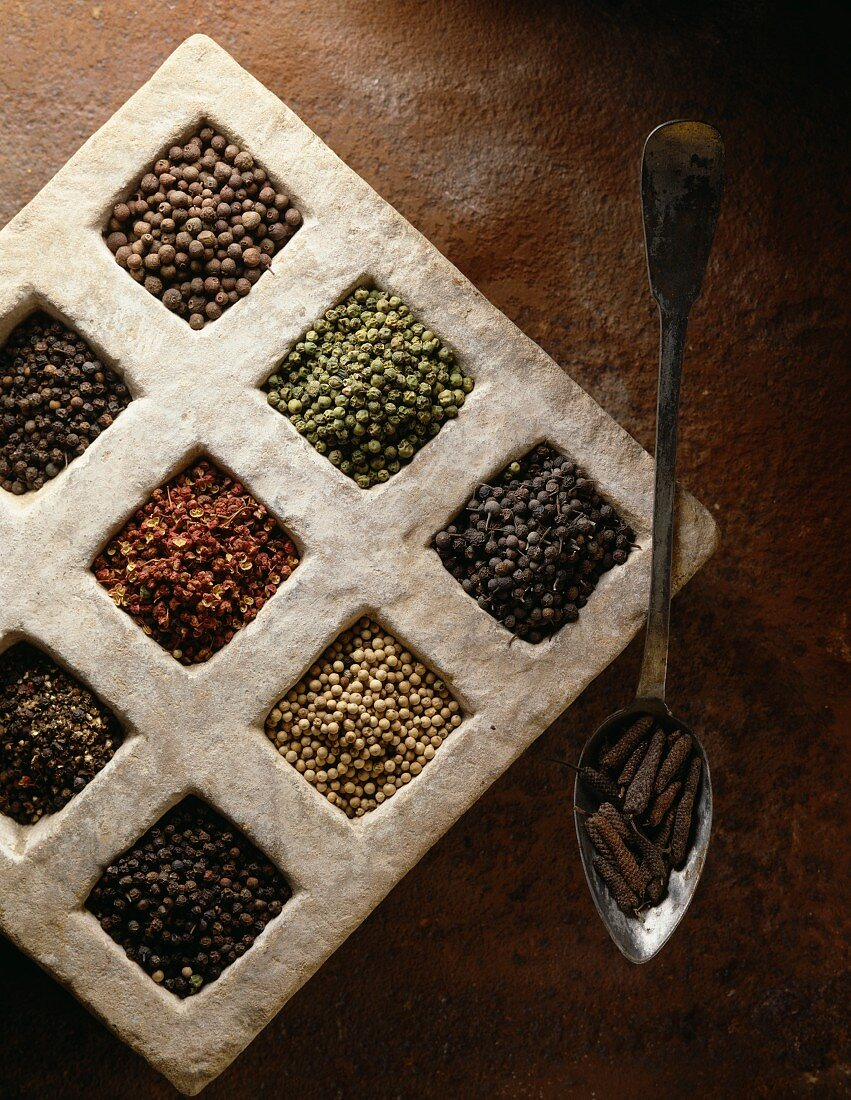 Selection of peppercorns