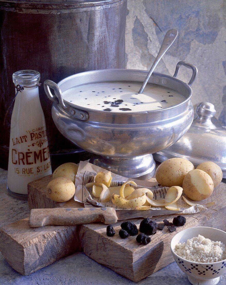 Creamed potato soup with truffles