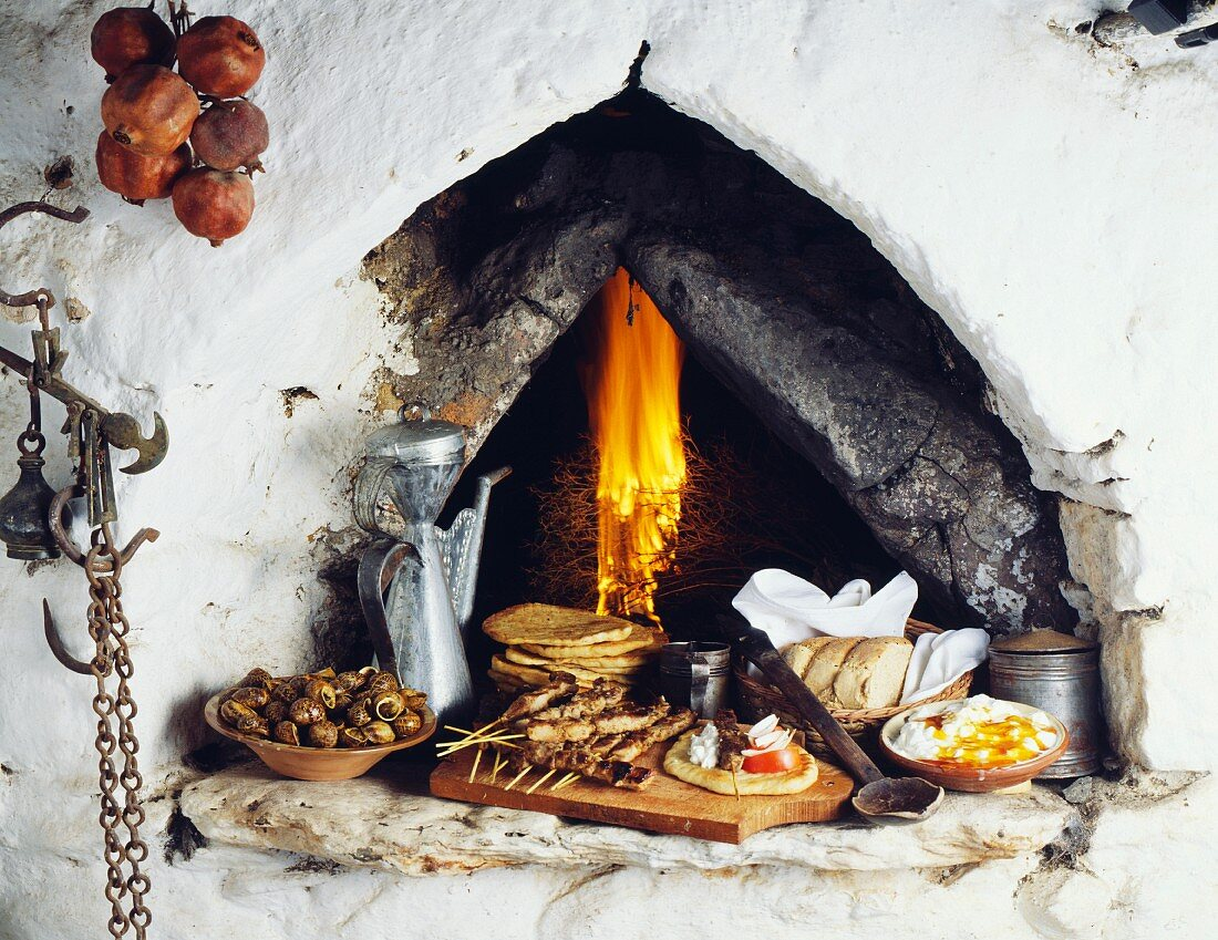 Cretan meal cooked in traditionnal wood fire oven