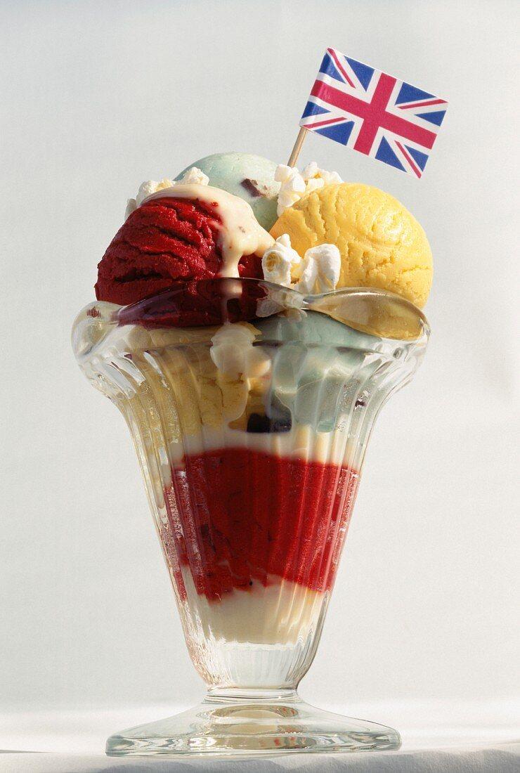 Mint chocolate ice cream,raspberry-passionfruit sherbet ice and custard