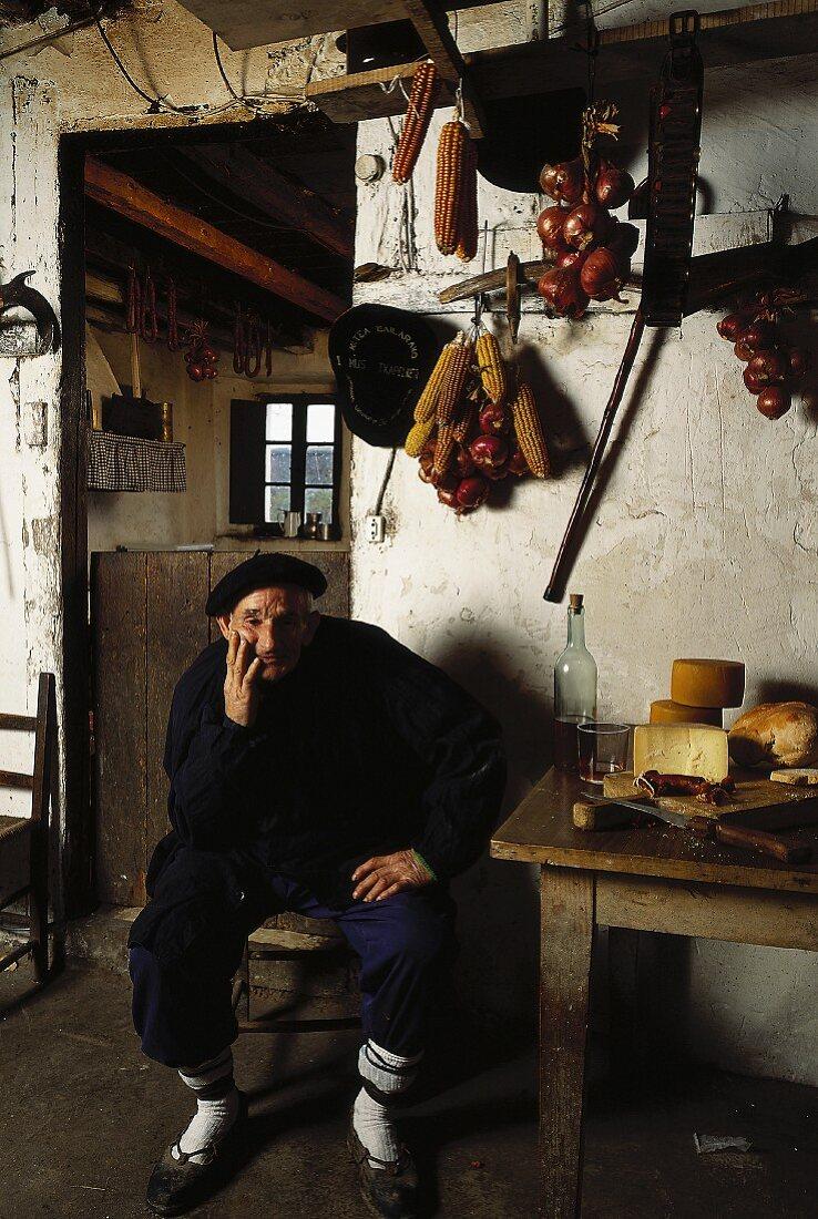 basque shepherd at home