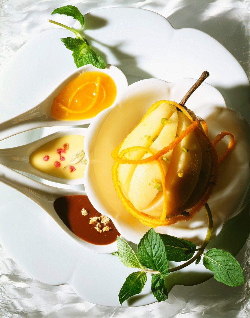 Pear with three sauces