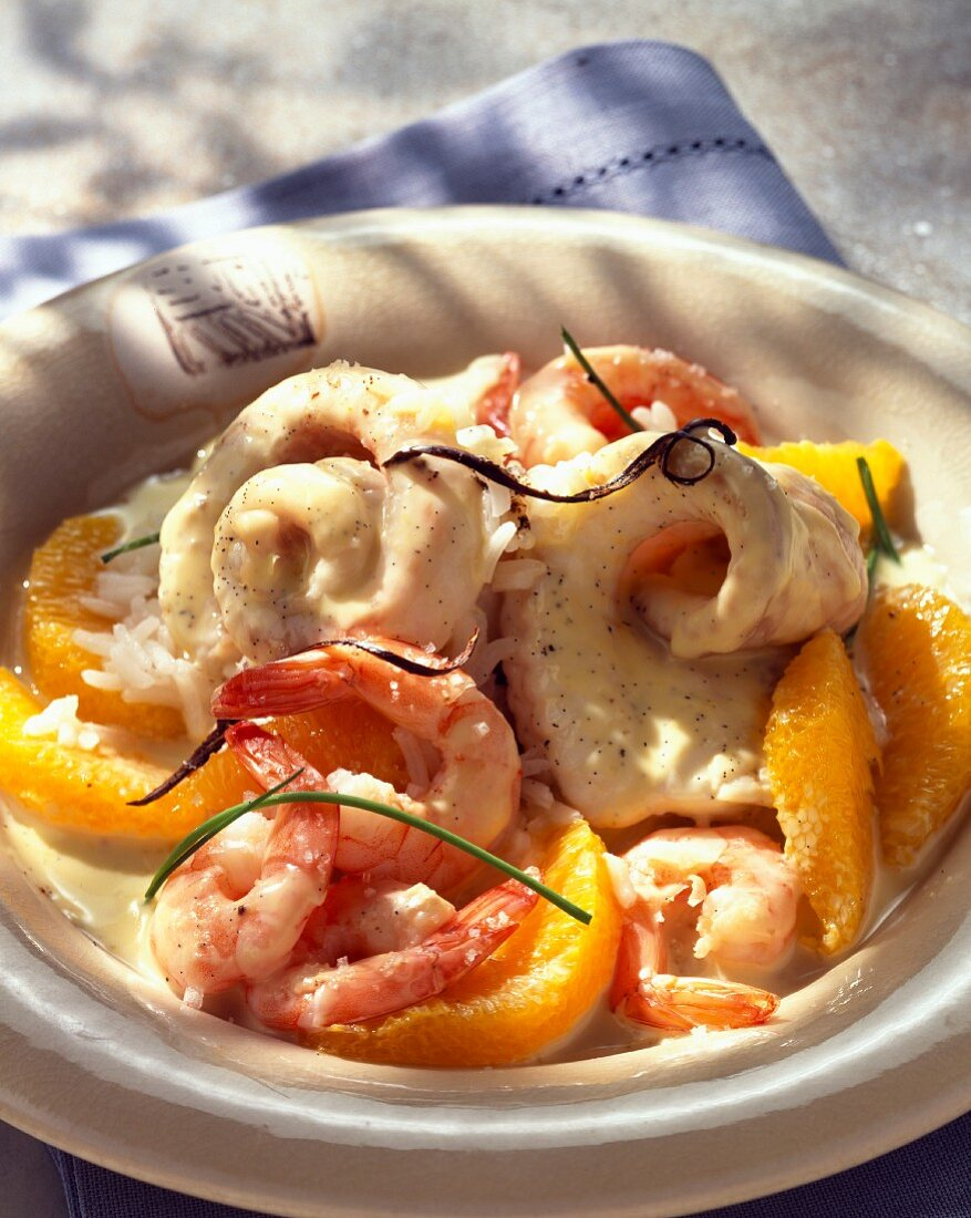 Sole with citrus fruit and vanilla sauce