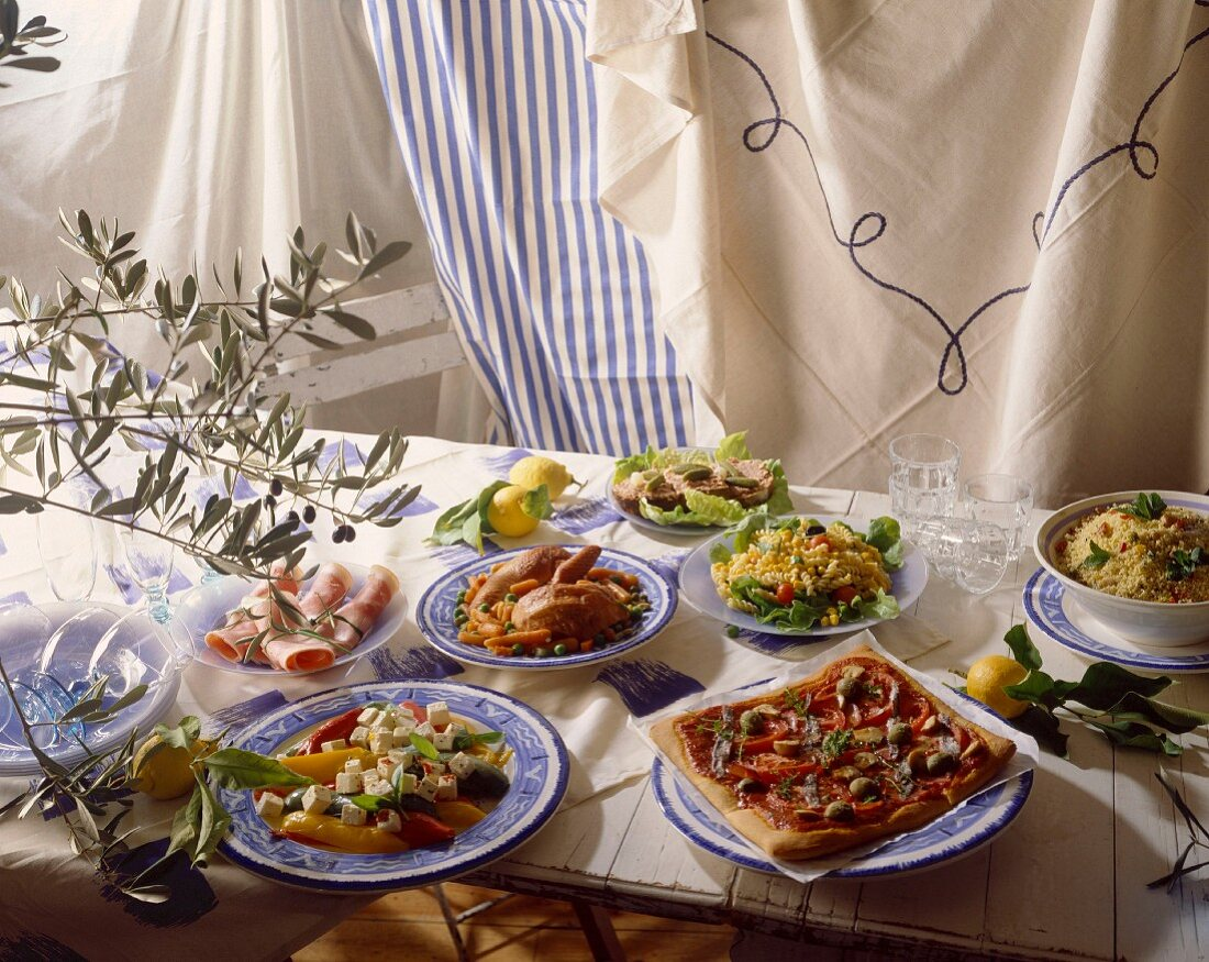 table set with selection of Mediterranean starters