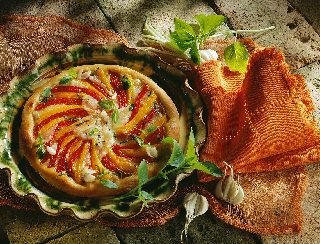 Red and yellow pepper pizza