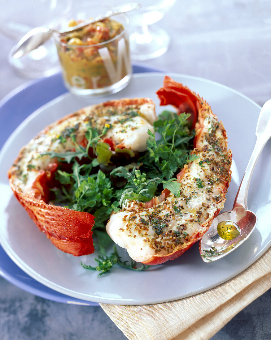 steamed spiny lobster with herbs and acidulated white sauce