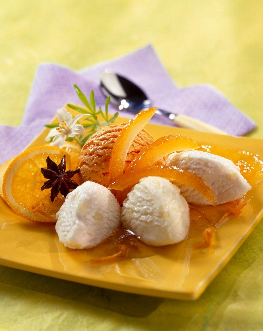 Orange and lemon ice cream