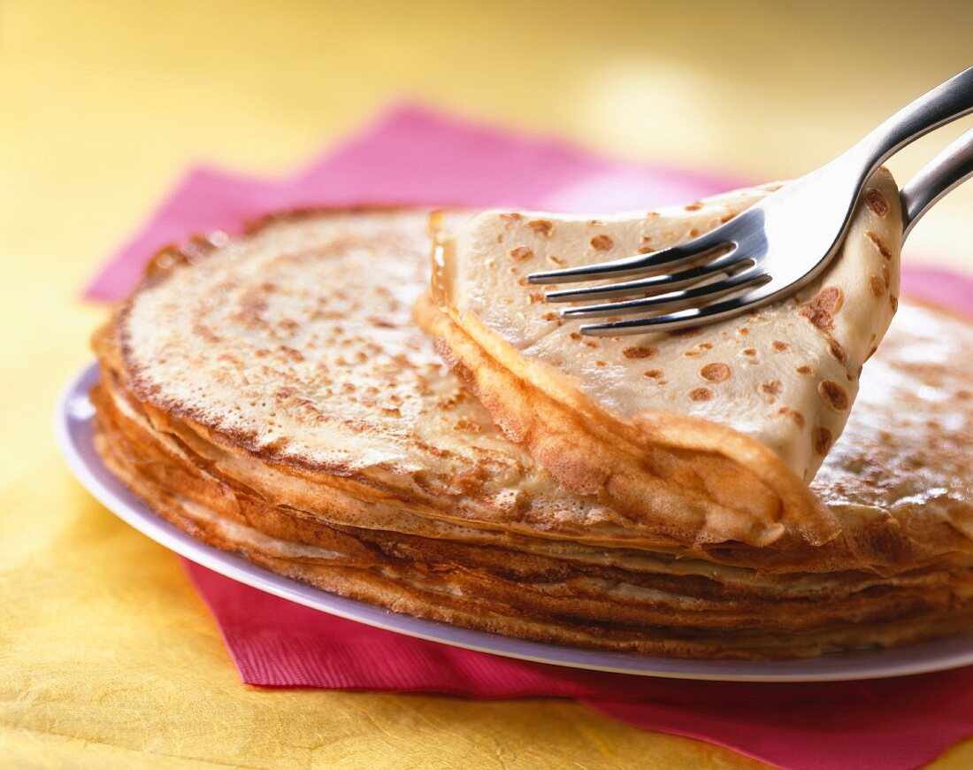 Crepes with fork