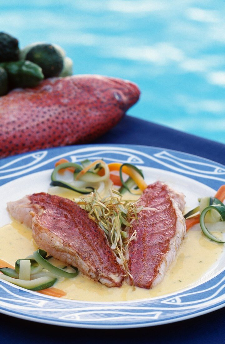 Coral grouper with vanilla