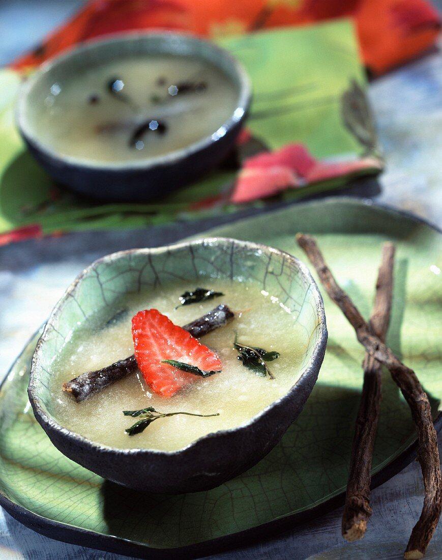 Cold peach, green tea and liquorice soup