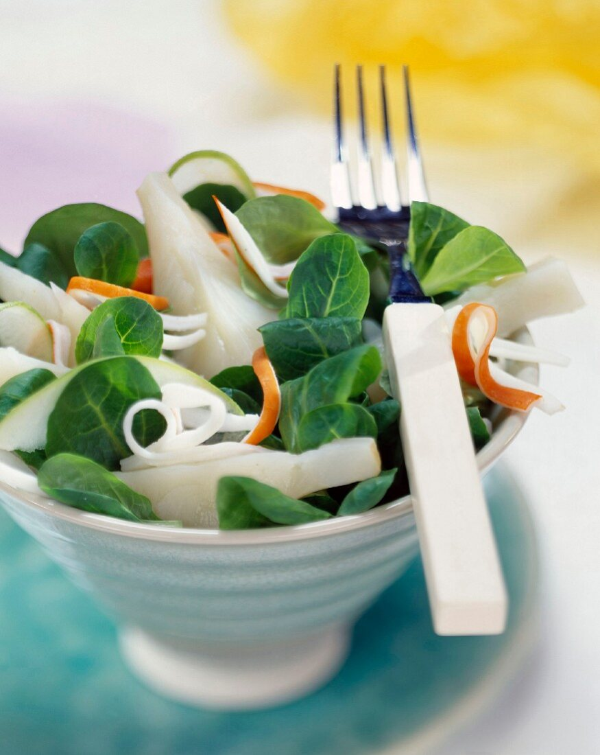 Watercress, fennel and surimi salad