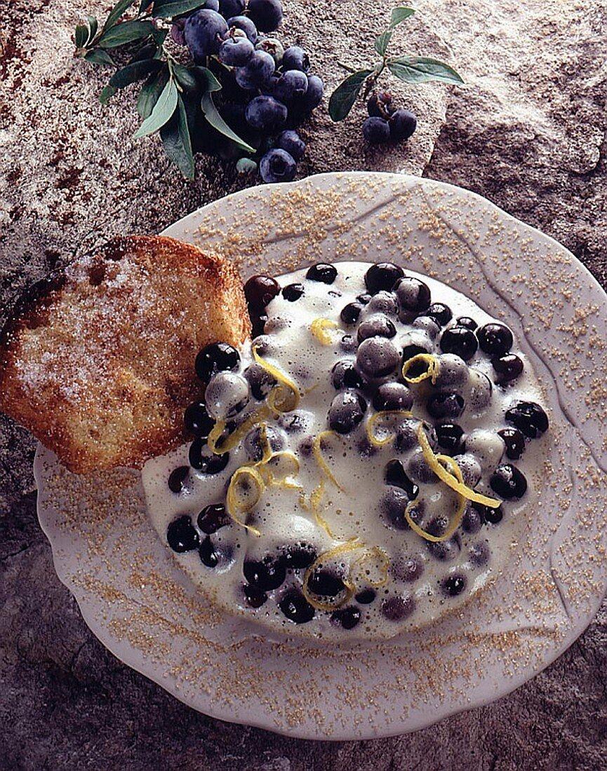 A refreshing blueberry dessert with lemon zest