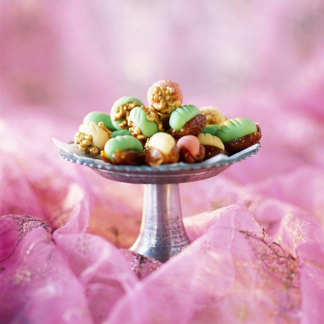 Marzipan-stuffed dates and walnuts