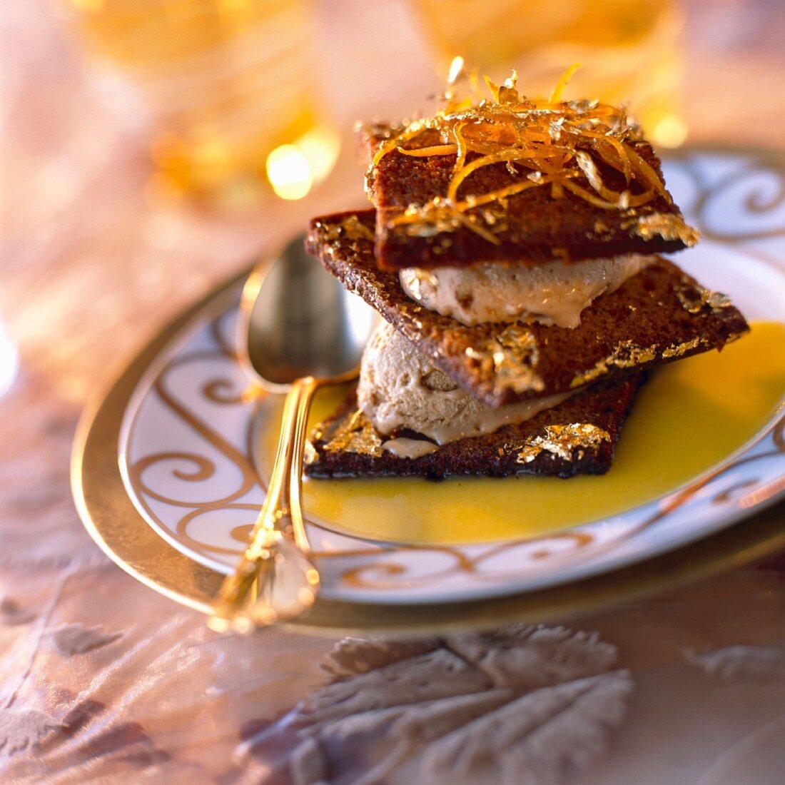 Gingerbread and orange layered dessert