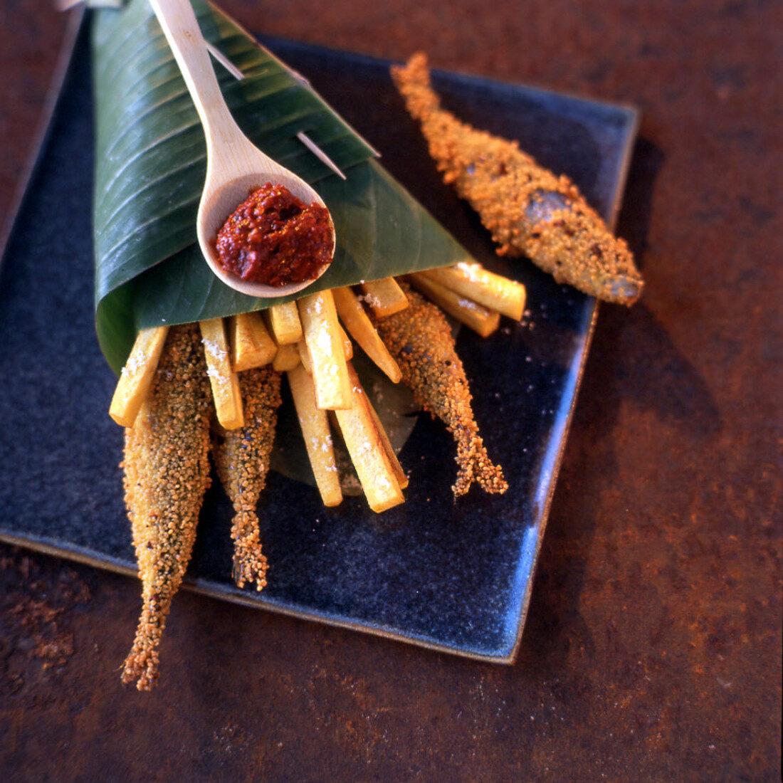 Sesame sardines, banana fries