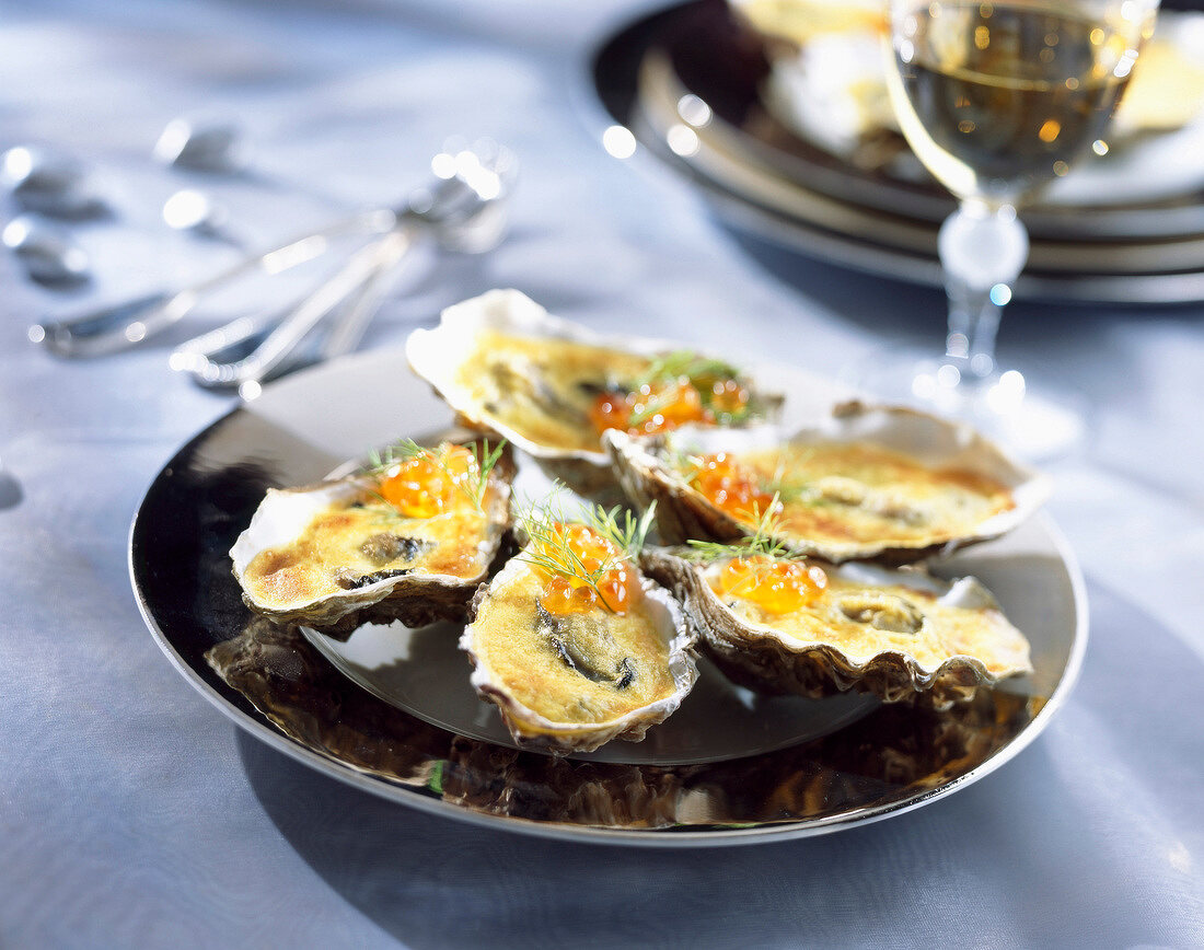 Grilled oysters gratinées with a Sabayon sauce