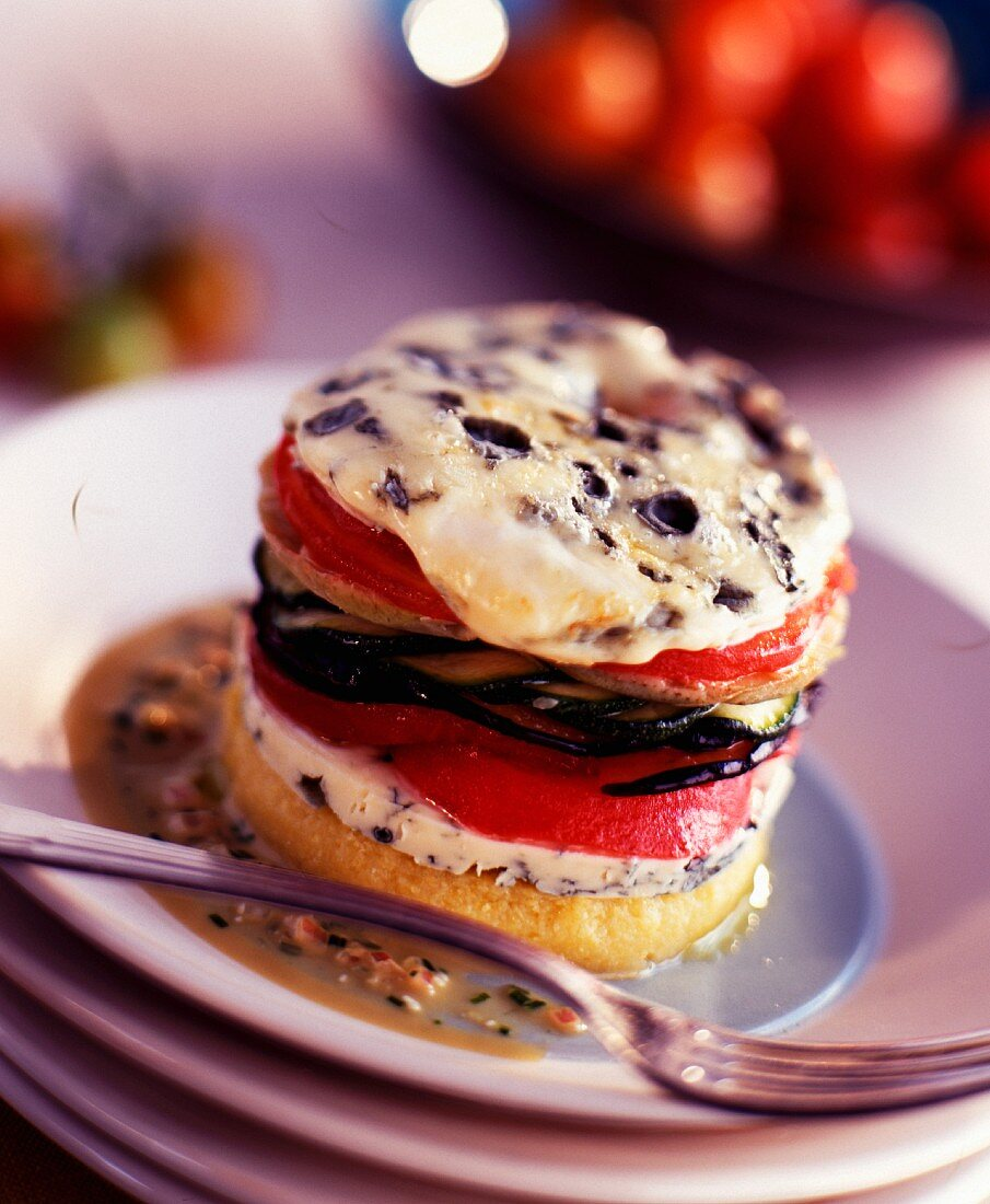 Dried vegetable and Fourme d'Ambert Bayaldi Mille-feuille