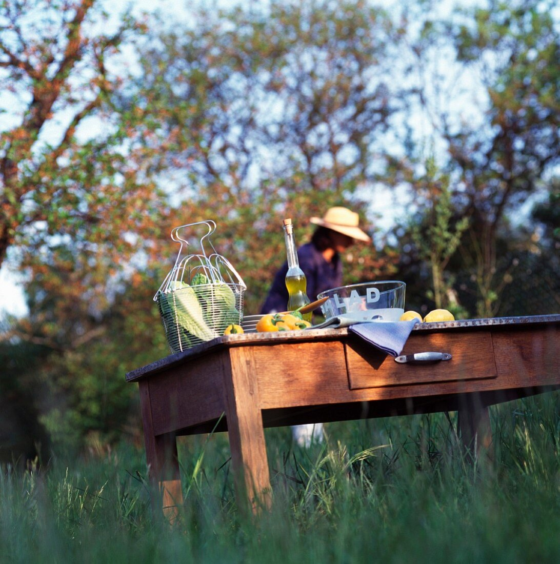 country atmosphere, salad and person