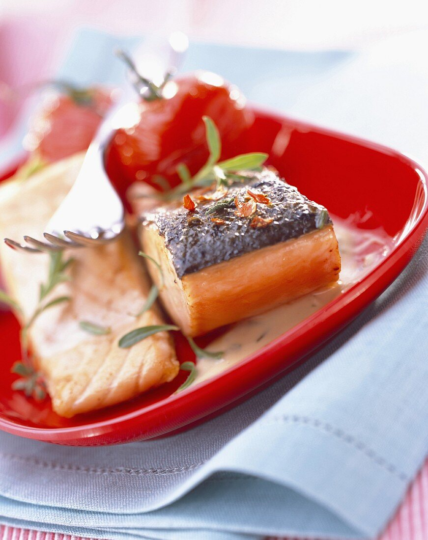 One sided seared salmon with preserved tomato