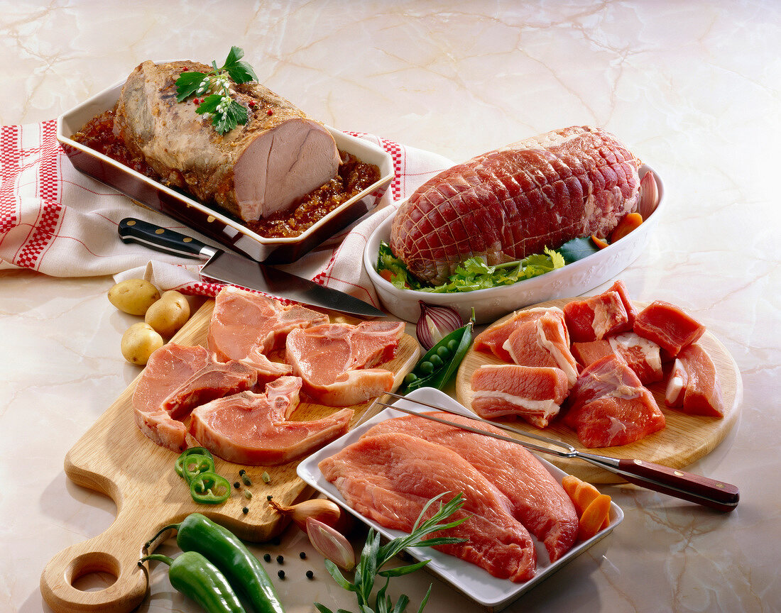 Raw cuts of veal
