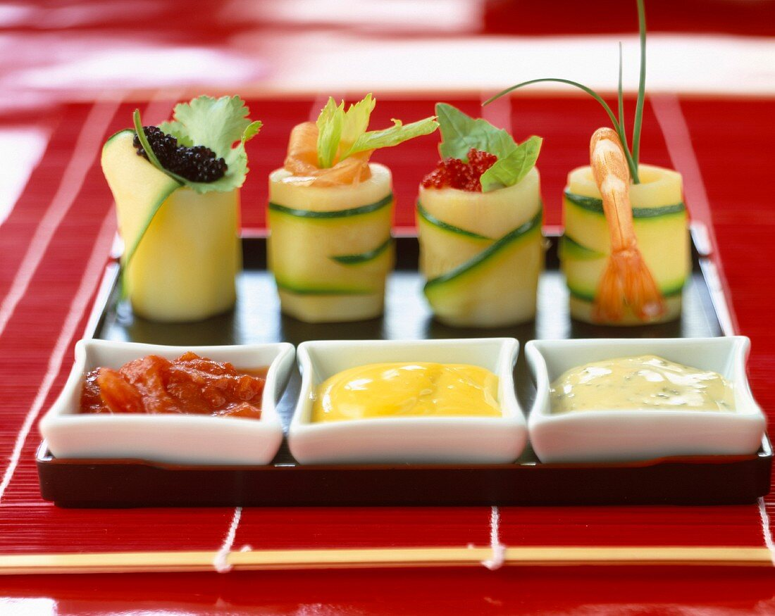 courgette sushi and sauces