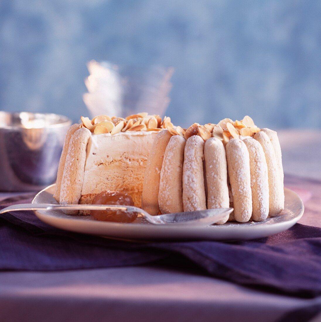 Ice cream and meringue Vacherin dessert