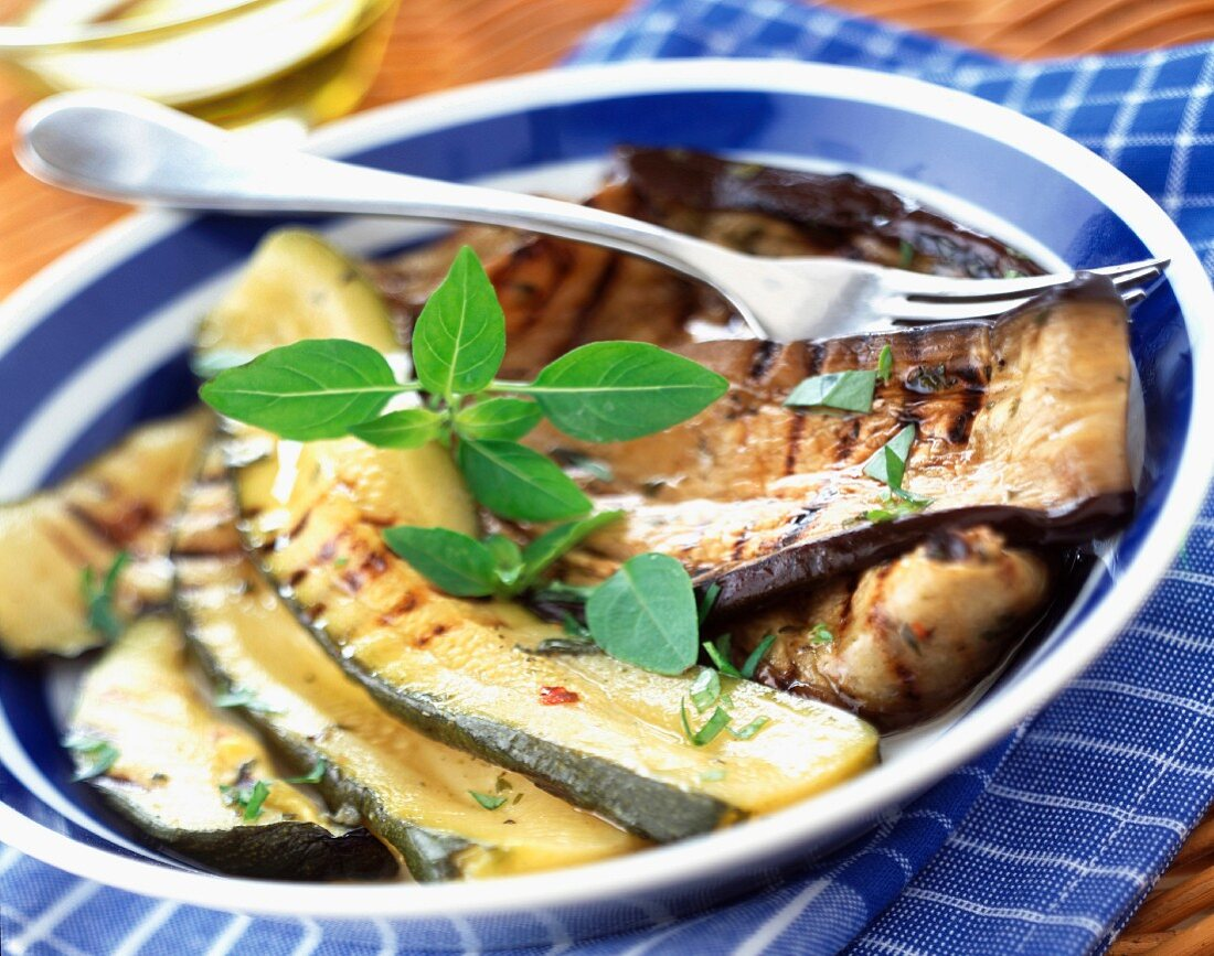 Grilled courgette and aubergine antipasti