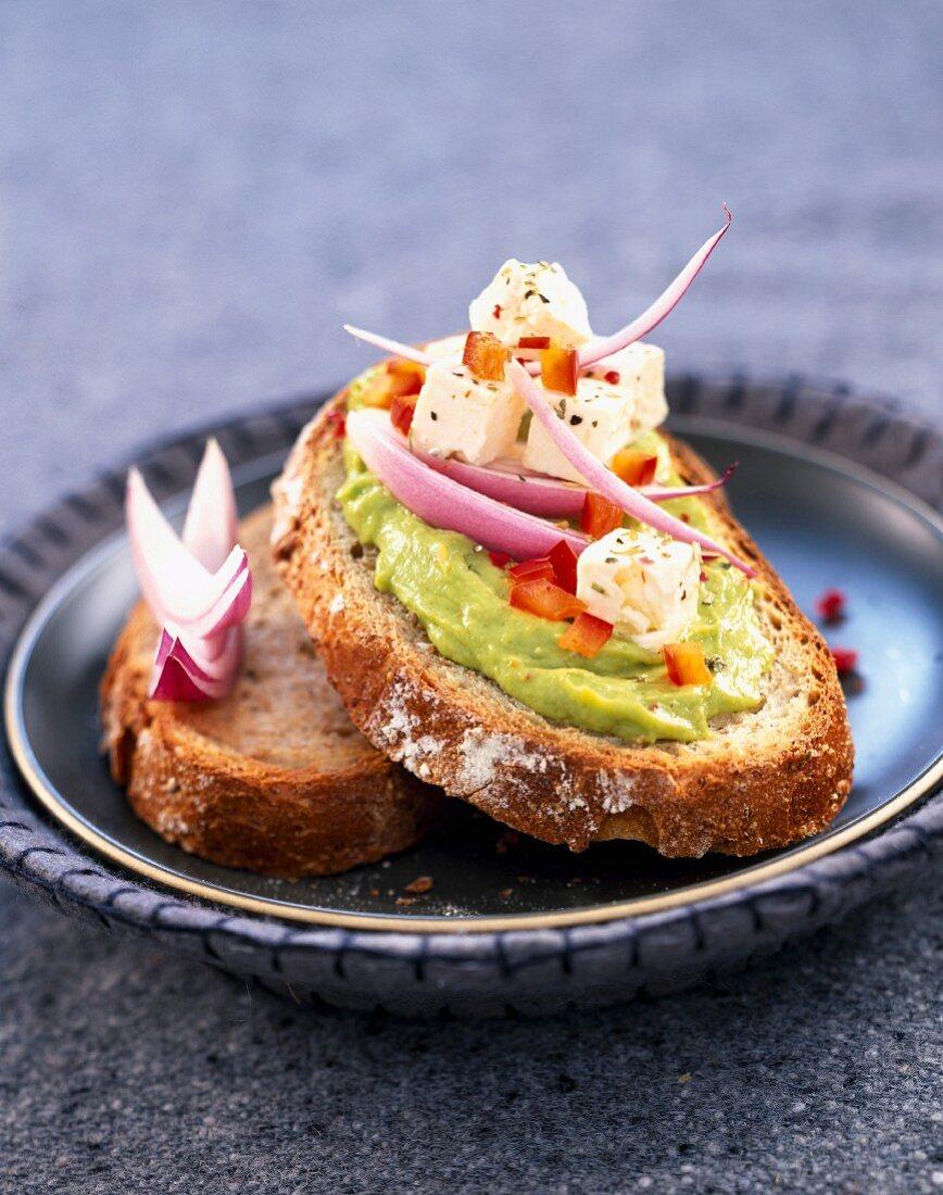 Guacamole open sandwich