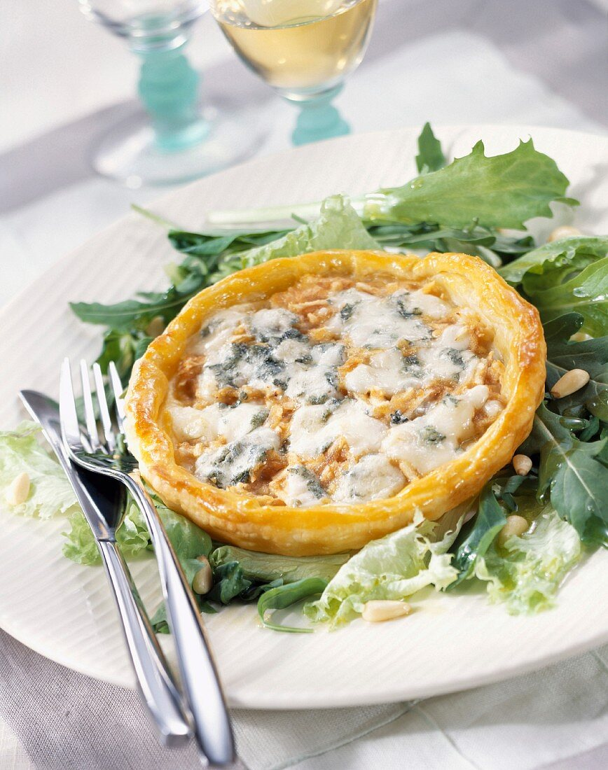 Roquefort and walnut flaky pastry tart
