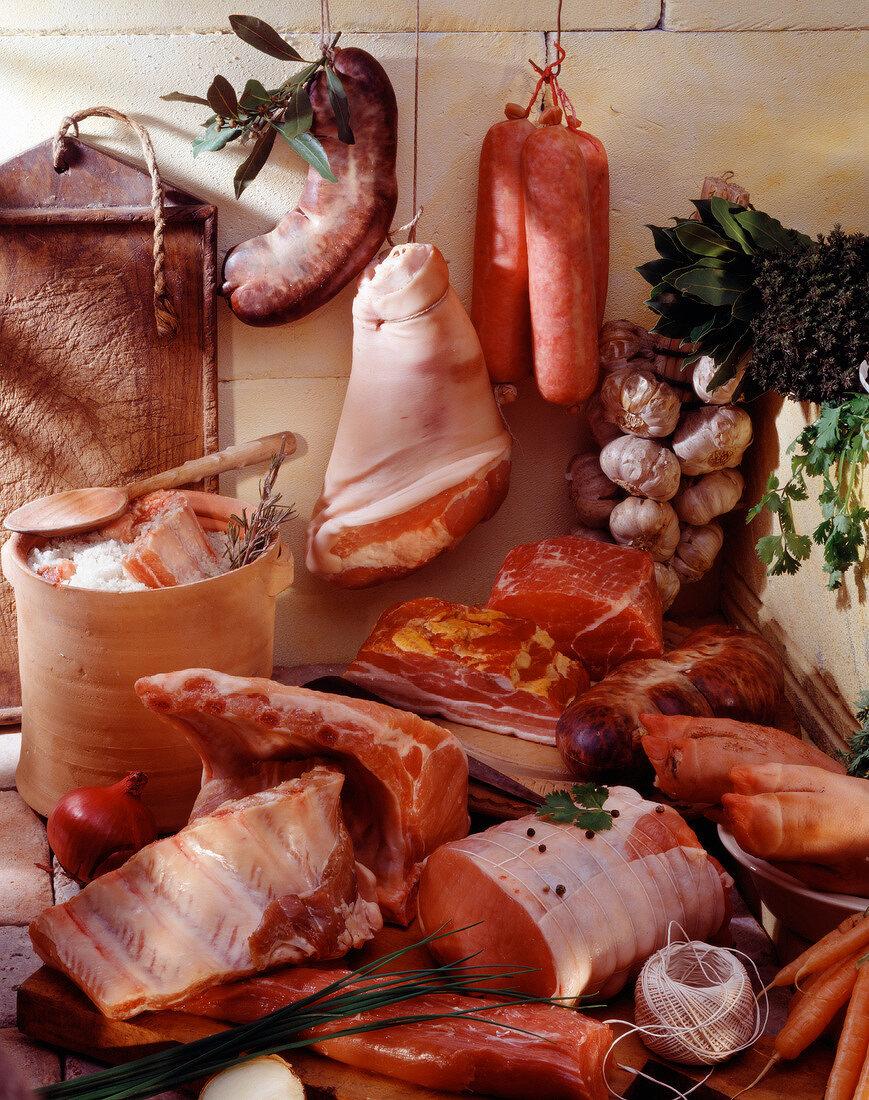 Cuts of pork still life