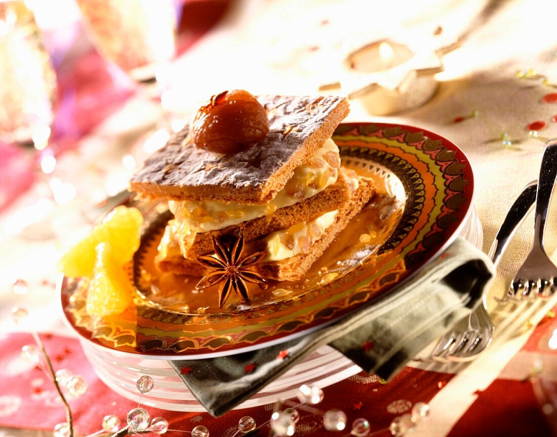 Clementine and iced chestnut flaky pastry layer