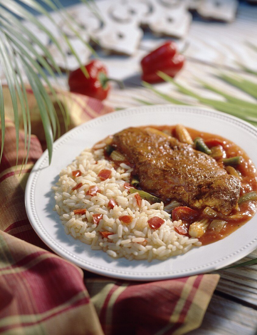 New Orleans spicy chicken with rice