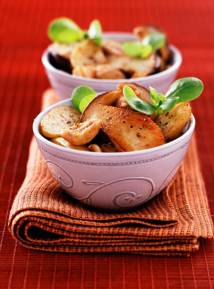 Cèpe mushroom and chestnut salad