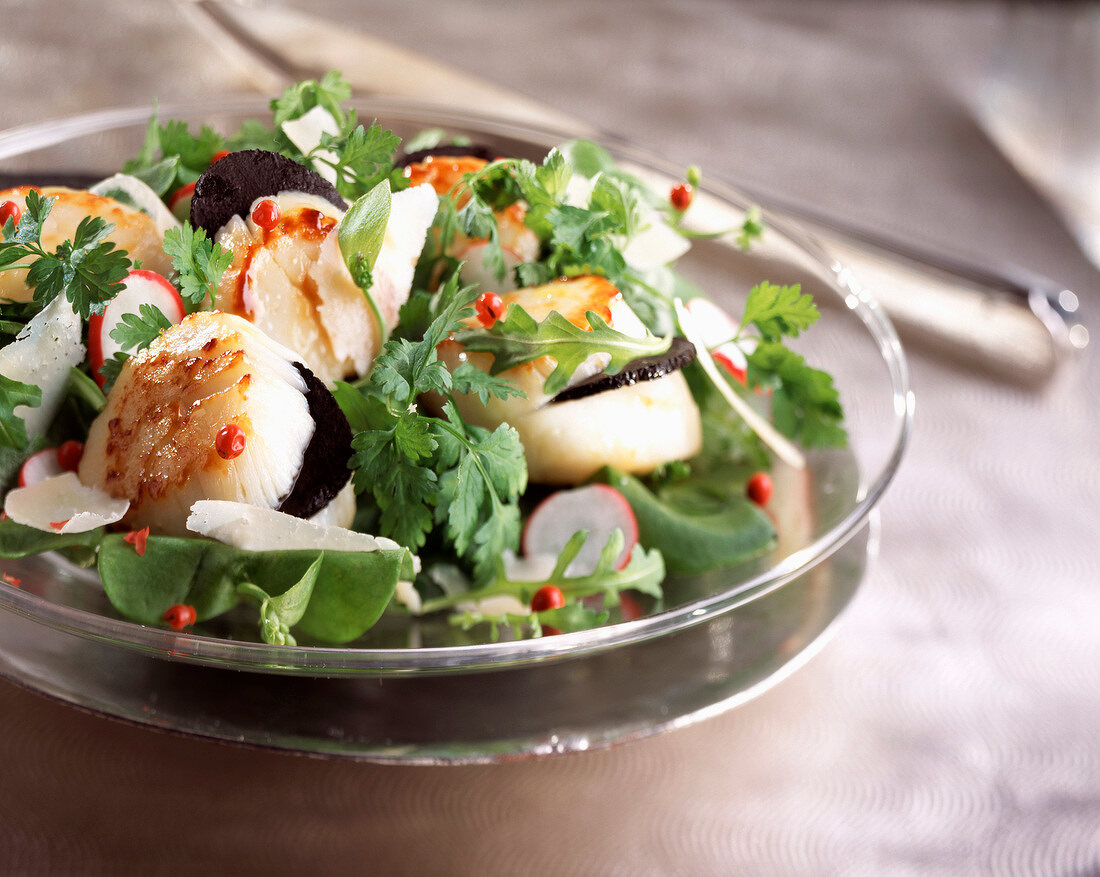 Scallop, truffle and Parmesan salad