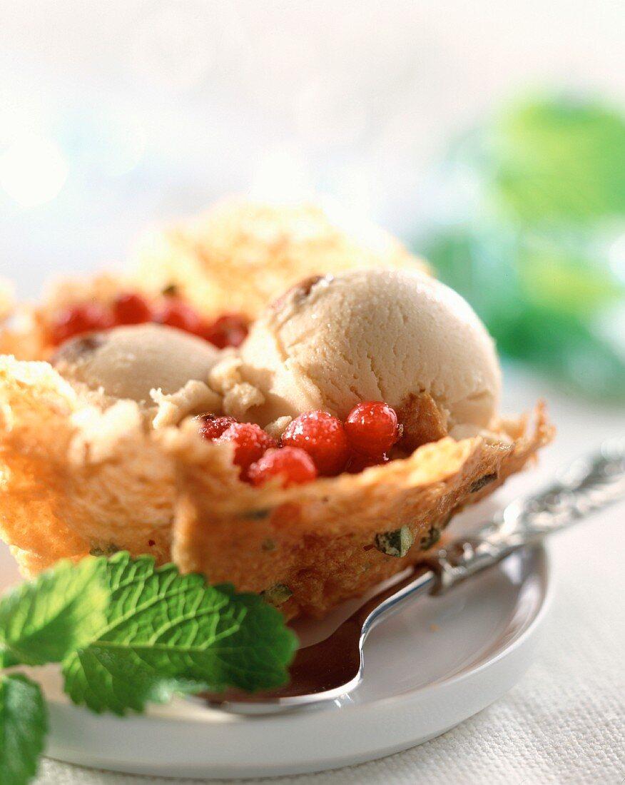 Morello cherries and pistachio biscuits